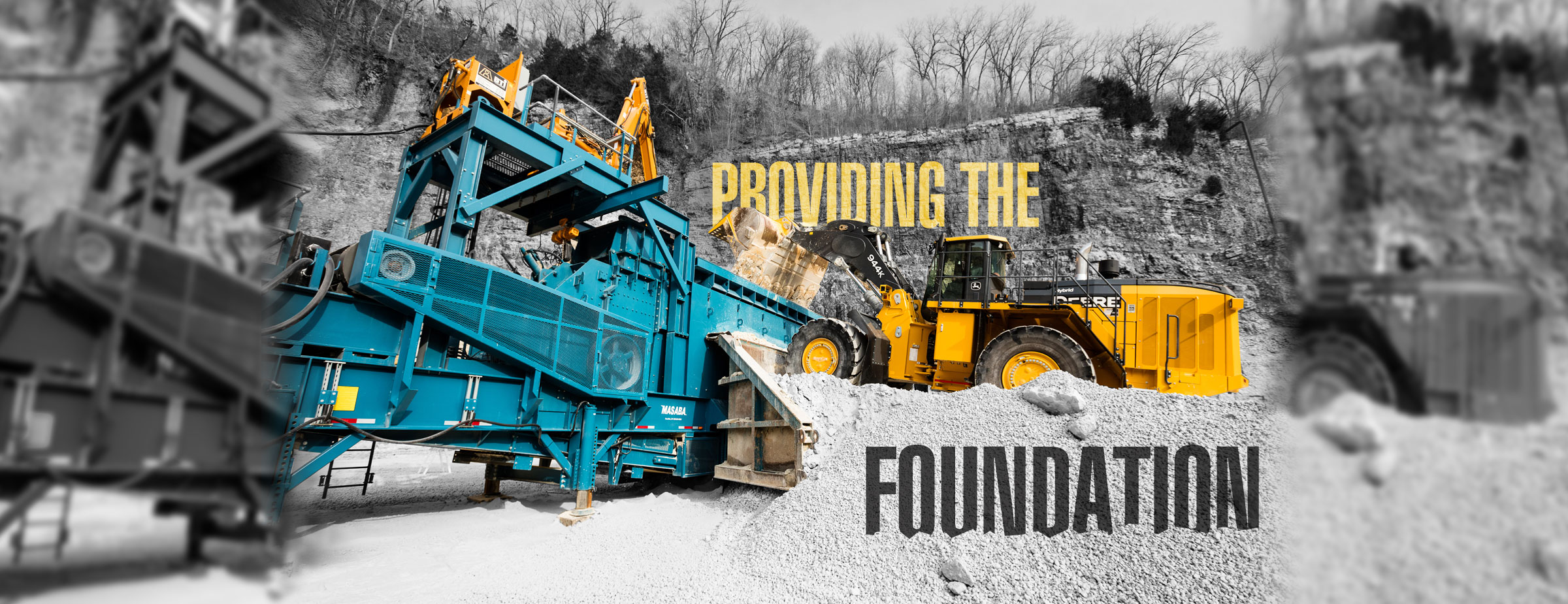 "Truck loading rocks into bin with words, ""providing the foundation."""